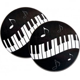 Music Gifts Company Wavy Keyboard - Black Mug Coasters - Twin pack