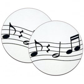 Music Gifts Company Wavy Music - White Mug Coasters - Twin pack