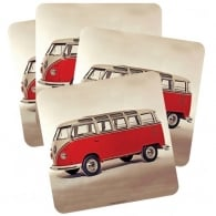 Half Moon Bay Westfalia T2 VW Red Coaster - Set of 4