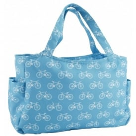 CGB Giftware White Cycles on Blue Designer Handbag